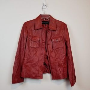 Reaction Kenneth Cole red leather jacket size L